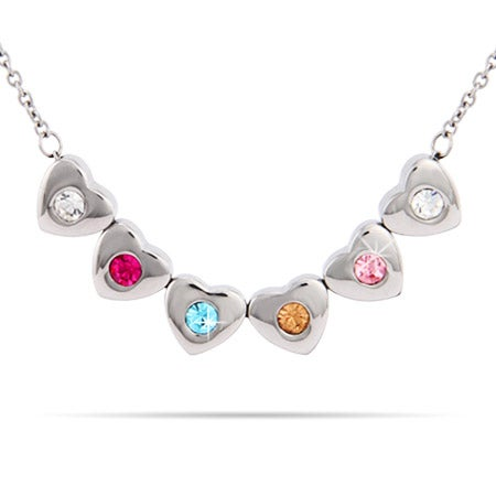 Custom Family of Hearts 6 Birthstone Necklace