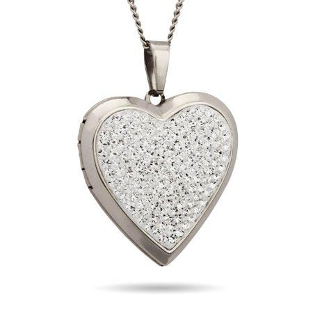 Engravable Austrian Crystal Heart Locket