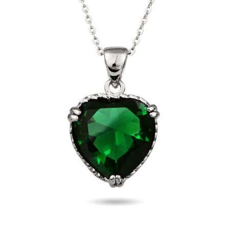 Emerald Green Sterling Silver Heart Pendant
