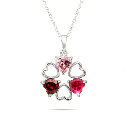 Hearts Desire 3 Stone Custom Birthstone Mother's Necklace