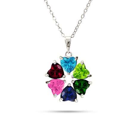 Hearts Desire 6 Stone Custom Birthstone Mother's Necklace