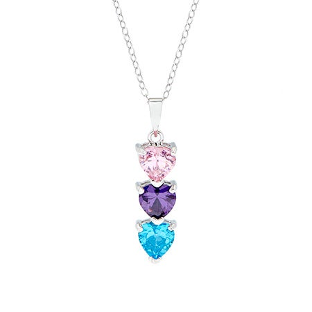 Customizable 3 Birthstone Heart Drop Necklace