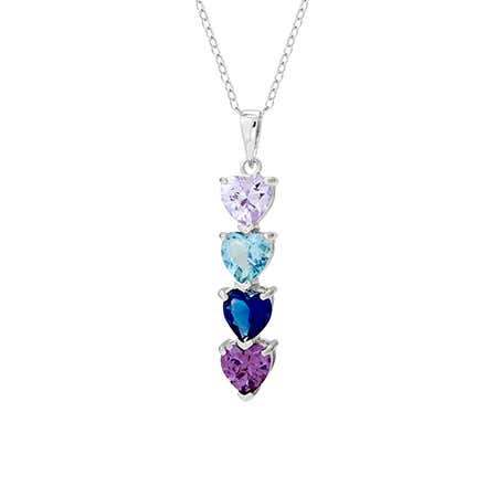 Heart Drop 4 Birthstone Mother's Necklace