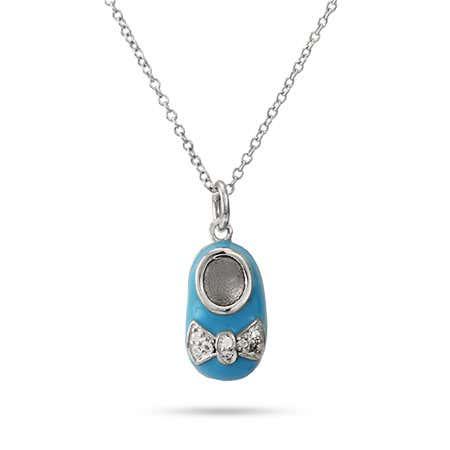 Engravable Blue Enamel Baby Shoe Pendant | Eve's Addiction
