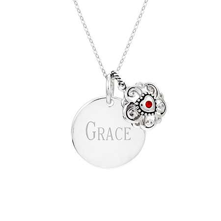 Engravable Silver Round Charm with Filigree Birthstone Heart Pendant