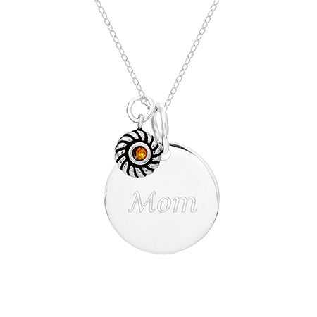 Sterling Silver Round Tag Pendant with Birthstone Charm