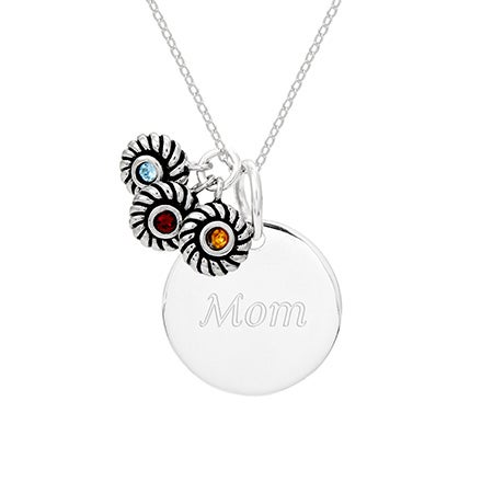 Sterling Silver Round Tag Pendant with 3 Birthstone Charms