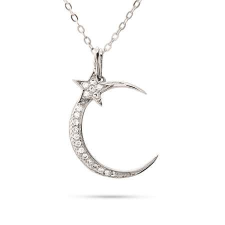 Glistening Moon and Star CZ Sterling Silver Necklace