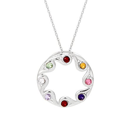 Custom 8 Birthstone Swirling Vine Pendant
