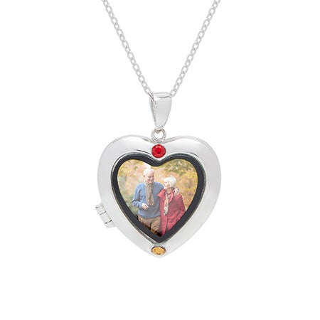 Custom 2 Birthstone Silver Photo Heart Locket