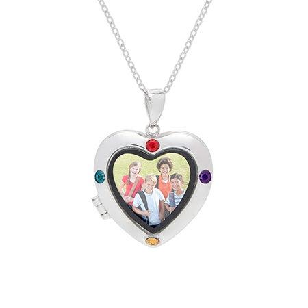 4 Stone Custom Silver Photo Heart Locket Necklace