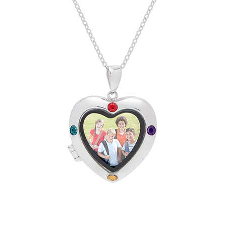 display slide 1 of 3 - 4 Stone Custom Silver Photo Heart Locket Necklace - selected slide