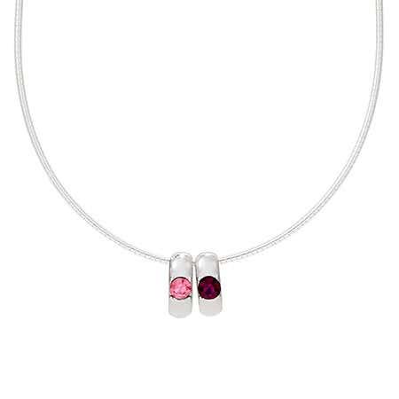 2 Birthstone Custom Sterling Silver Slide Necklace