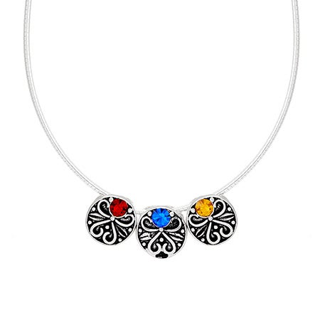 Custom 3 Birthstone Vintage Style Bead Necklace