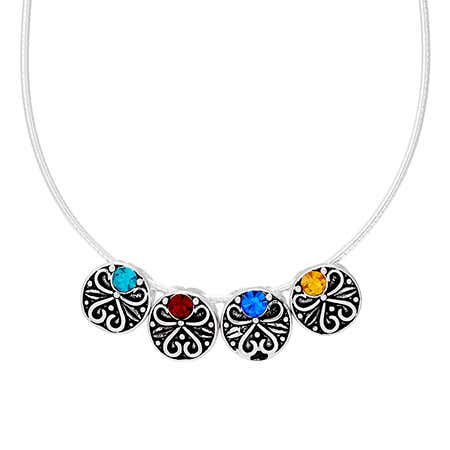 Vintage Style 4 Stone Round Silver Birthstone Necklace