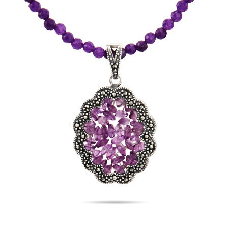 Genuine Amethyst Beaded Marcasite Necklace