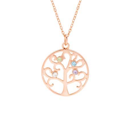 4 Stone Rose Gold Vermeil Birthstone Tree Pendant