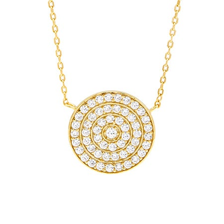 Gold Round Pave CZ Necklace | Eve's Addiction®