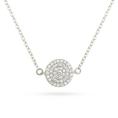 Kate Middleton Inspired Silver Round Pave CZ Necklace| Eve's Addiction