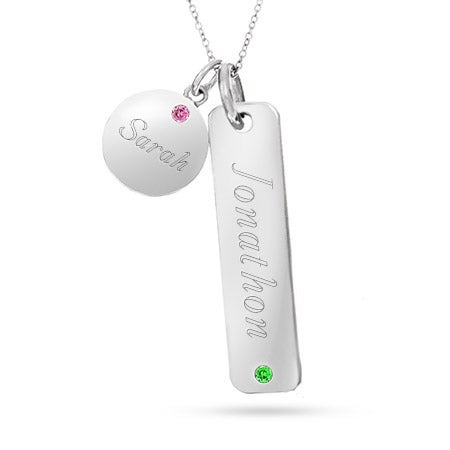 Engravble Sterling Silver Double Birthstone Charm Necklace