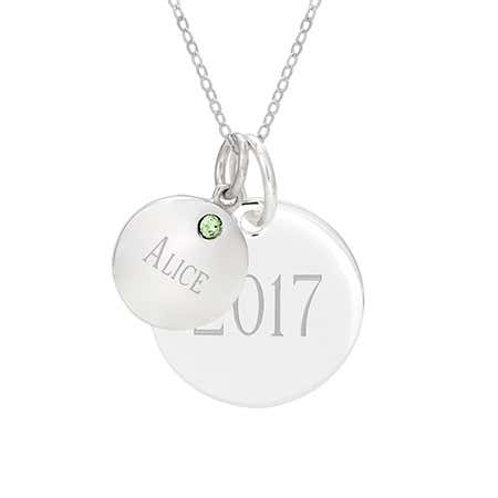 Engravable Double Round Tag Silver Birthstone Pendant
