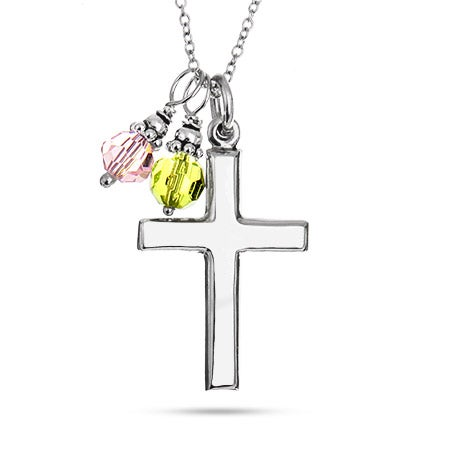 Silver Cross Necklace with Dangling Birthstones