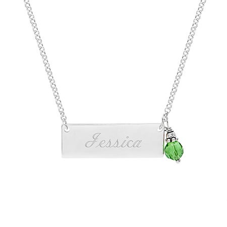 Custom Name Bar Necklace with Dangling Birthstone