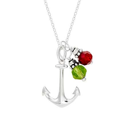 Anchor Pendant with Dangling Birthstones