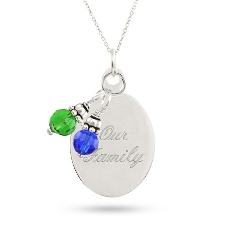 Engraved Oval Charm Pendant with Dangling Birthstone