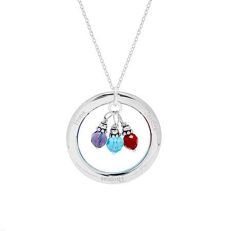 Engraved Circle Pendant with Personalized Dangling Birthstones
