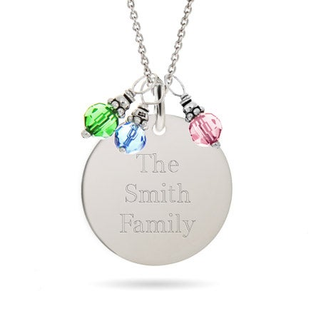 Engravable Round Charm with Dangling Birthstones