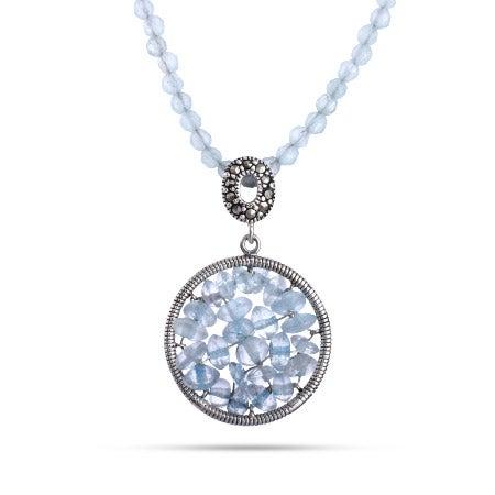 Aquamarine Beaded Round Necklace