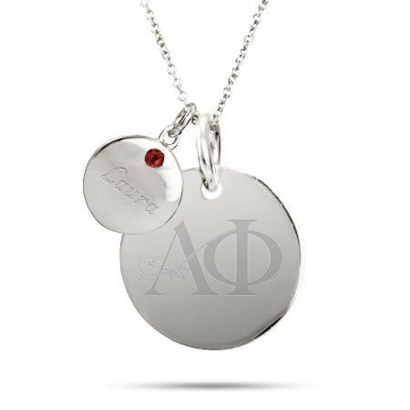 Engravable Alpha Phi Sterling Silver Double Round Tag Necklace