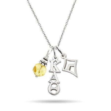 Kappa Alpha Theta Sterling Silver Charm Necklace