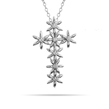 Sterling Silver CZ Daisies Cross Necklace