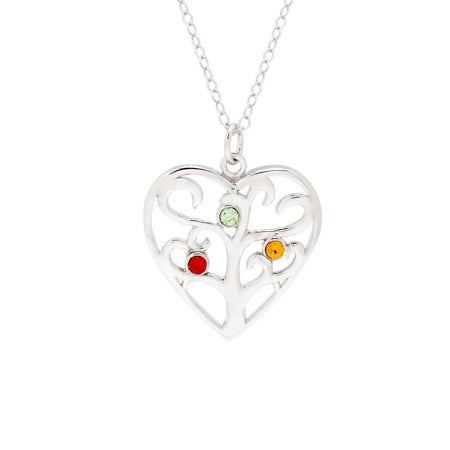 Custom 3 Birthstone Heart Family Tree Pendant | Eve's Addiction®