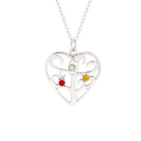 Custom 3 Birthstone Heart Family Tree Pendant