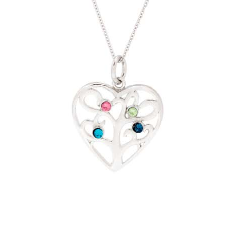 Custom 4 Birthstone Heart Family Tree Necklace