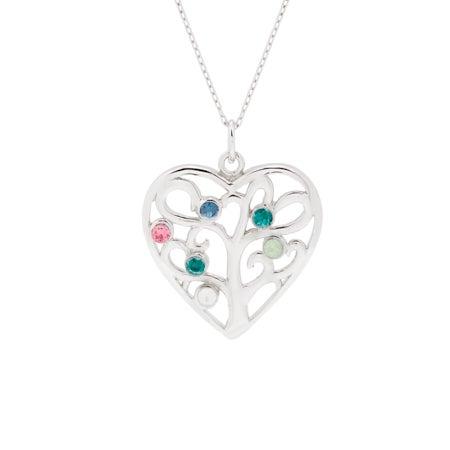 6 Birthstone Heart Family Tree Pendant