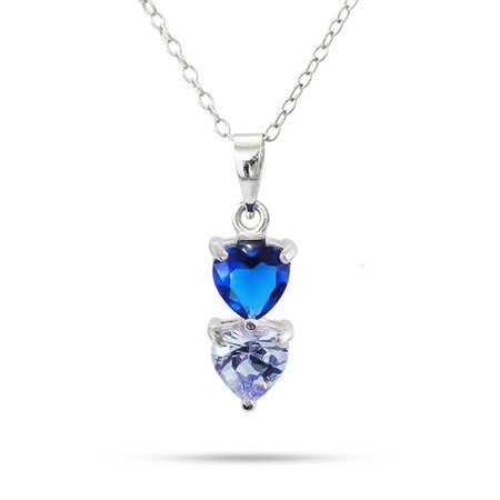 Custom 2 Birthstone Heart Drop Pendant