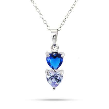 Custom 2 Birthstone Heart Drop Pendant