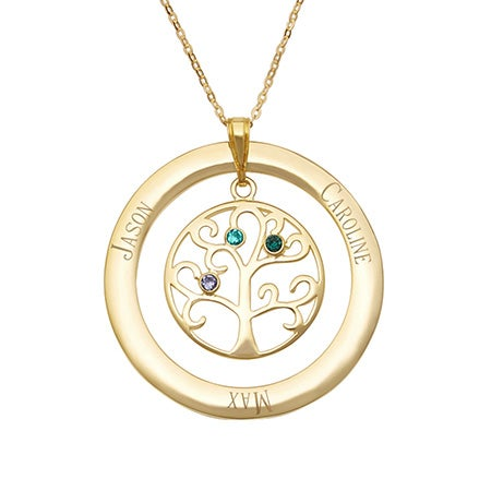 3 Birthstone Family Tree Pendant in Gold Vermeil | Eve's Addiction®
