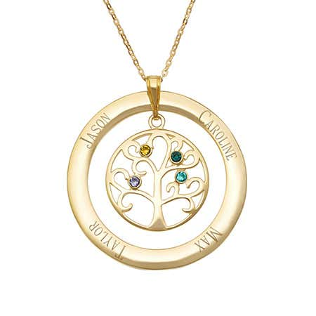 Engraved Gold Vermeil 4 Birthstone Family Tree Necklace