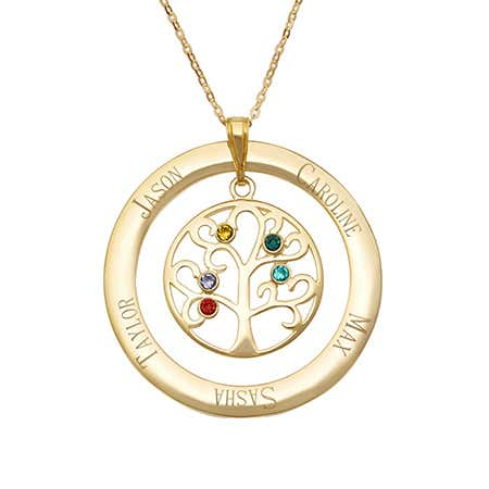 Engraved 5 Stone Gold Vermeil Birthstone Family Tree Necklace
