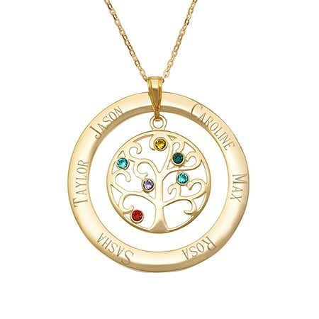 6 Birthstone Gold Vermeil Family Tree Circle Necklace