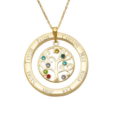 Grandchildren jewelry for grandma gold 8 birthstone necklace for grandma