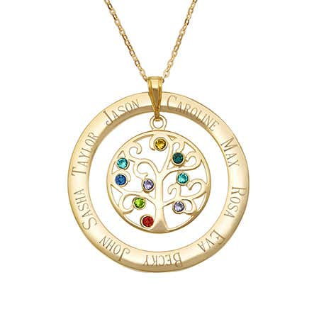 Engraved Gold Vermeil 9 Birthstone Family Tree Necklace