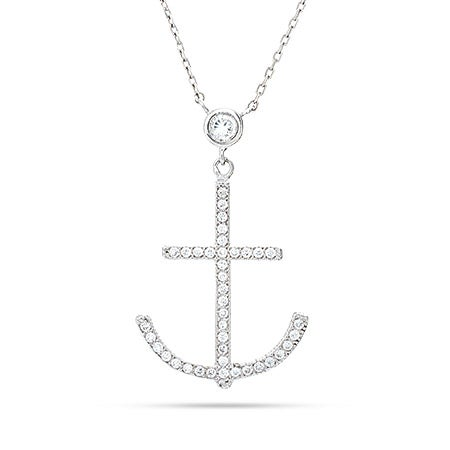Sterling Silver Large CZ Anchor Necklace