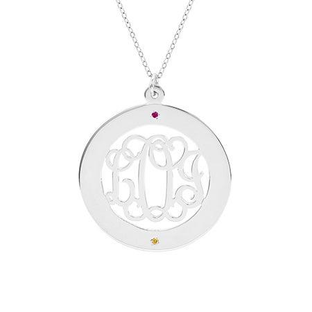2 Stone Fancy Script Monogram Silver Necklace