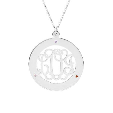 Fancy Script 3 Birthstone Monogram Necklace